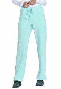 Dickies EDS Essentials DK010 Pantalon d'infirmière taille mi-haute avec cordon de serrage pour femme – vert – X-Small Petite