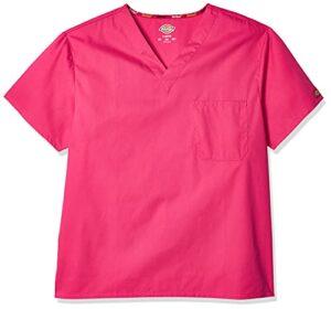 Dickies Signature blouse médicale à col en V pour homme – Rose – Taille M