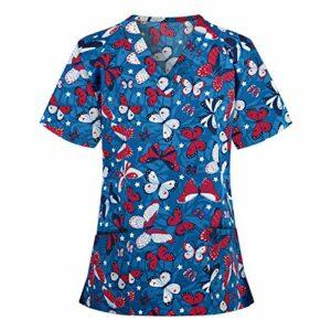 Eilecentyhzm Tunique à enfiler pour femme – Vêtement de travail – Veste à enfiler pour femme – Tunique imprimé papillon – Uniforme – Vêtement professionnel pour infirmière – Beige – Taille Unique