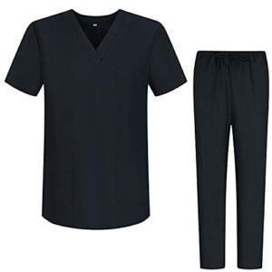 Misemiya – Ensemble Uniformes Unisexe Blouse – Uniforme Médical avec Haut et Pantalon – Ref.8178 – Small, Noir 68