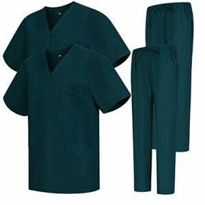 Misemiya – Pack * 2 Pcs – Ensemble Uniformes Unisexe Blouse – Uniforme Médical avec Haut et Pantalon – Ref.2-8178 – Small, Vert 68