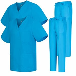 Misemiya – Pack * 2 Pcs – Ensemble Uniformes Unisexe Blouse – Uniforme Médical avec Haut et Pantalon – Ref.2-8178 – X-Large, Bleu Clair 68