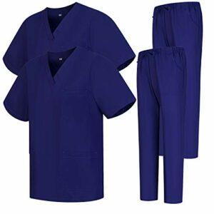 Misemiya – Pack * 2 Pcs – Ensemble Uniformes Unisexe Blouse – Uniforme Médical avec Haut et Pantalon – Ref.2-8178 – X-Large, Violet 68