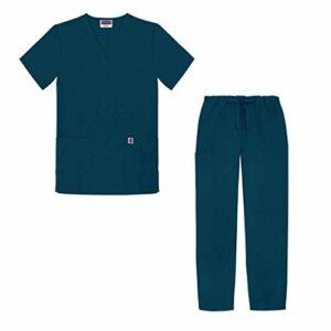 Sivvan Tenue Médicale Unisexe Classique – Blouse Col en V & Pantalon à Cordon – S8400 – Caribbean Blue – M
