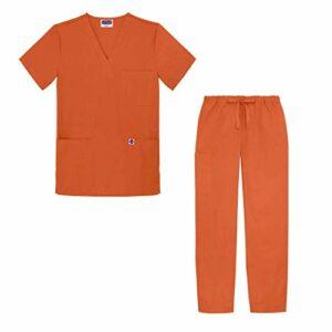 Sivvan Tenue Médicale Unisexe Classique – Blouse Col en V & Pantalon à Cordon – S8400 – Mandarin Orange – M
