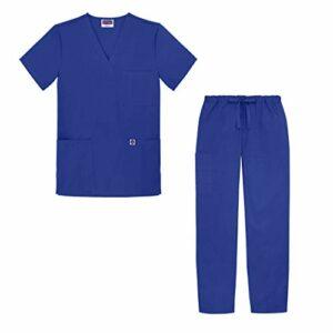 Sivvan Tenue Médicale Unisexe Classique – Blouse Col en V & Pantalon à Cordon – S8400 – Royal Blue – 4X