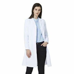 ANNISOUL Blouse de Laboratoire Blanche pour Femme, Uniforme de médecin Professionnel, Coupe ajustée, 3 Poches (Blanc, L)