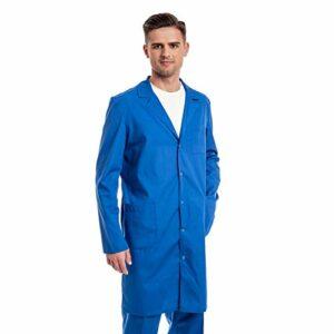 Blouse Bleu Chimie Homme – 7 Tailles De Blouses Médicale (XS – 3XL) – Parfait comme Blouse Pharmacie, Infirmiere, Lycee, Laboratoire Cosplay Ou Technicien, Docteur Manteau – Blouse en Coton