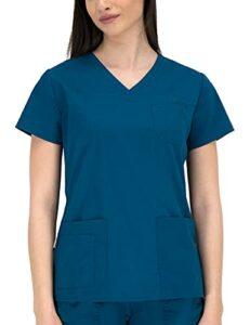 B-well Andrea Blouse Medicale Femme Uniforme Medical Femme à Manches Courtes et col en V Bleu Caraïbes 56