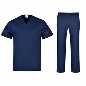 B-well Colombo Uniforme Médicale Unisexes Ensemble: Haut et Pantalons + Blouse Medicale Femme/Homme – Tenue Aide Soignante Professionnelle Vêtement médical – Bleu – X-Small
