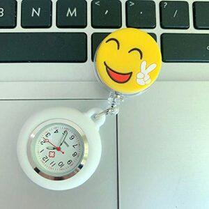 Cxypeng Accessoires D'Infirmière Montres De Poche,Montre de Poche Extensible pour Femme, Montre de Poche Lumineuse médecin – Rose,FOB Medical Watch