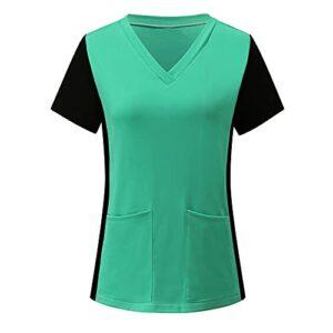 FNKDOR Haut de Travail à Col en V Femme Manches Courtes Blouse de Laboratoire Médecin Vêtements pour Estheticienne Spa Massage Chef Uniforme Médical Blouse Chic Imprimé Poche Chemise de T-Shirts