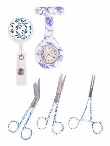 Hospitrix Set Accessoires infirmière avec Montre à gousset d'infirmière, set ciseaux infirmier et porte-badge + GRAVURE!