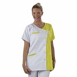 Label blouse Tunique blouse médicale couleur moderne 3 poches passe poiles Fermeture asymétrique Sergé 210 gramme Couleurs Blanc Jaune Pressions couleurs Lavage Machine 90 degrés ou industriel, Blanc, Jaune, T5-52/54