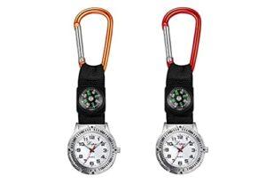 longsheng Lot de 2 montres de poche à quartz avec boussole pour infirmière, médecin, ambulancier