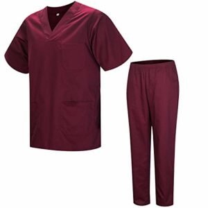 Misemiya – Ensemble Uniformes Unisexe Blouse – Uniforme Médical avec Haut et Pantalon – Ref.8178 – Large, Grenat