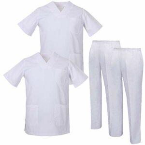 Misemiya – Pack * 2 Pcs – Ensemble Uniformes Unisexe Blouse – Uniforme Médical avec Haut et Pantalon – Ref.2-8178 – Medium, Blanc