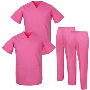 Misemiya – Pack * 2 Pcs – Ensemble Uniformes Unisexe Blouse – Uniforme Médical avec Haut et Pantalon – Ref.2-8178 – X-Large, Rose