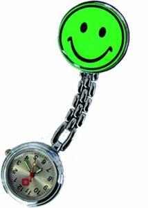 Montre d'infirmière = Lot de 2.) Vert avec Smiley et clip Blouse Infirmière de qualité Tiga-Med
