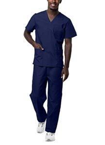 Sivvan Tenue Médicale Unisexe Classique – Blouse Col en V & Pantalon à Cordon – S8400 – Navy – M