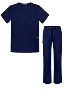 Sivvan Tenue Médicale Unisexe Classique – Blouse Col en V & Pantalon à Cordon – S8400 – Navy – XS