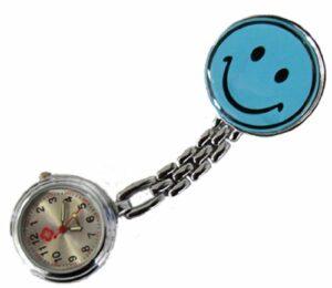 Tiga-Med Lot de 2 montres infirmières avec pince Motif Smiley Bleu clair