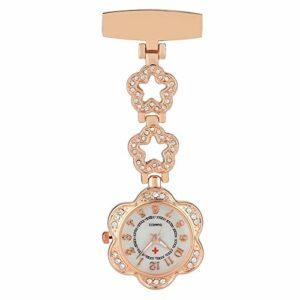 TUANZI Rétro Classique Argent/Or Rose Luxe Strass infirmière Quartz Montre de Poche Broche Doctor Pocket Clock Hot Cadeaux for travailleur médical Cadeau Souvenir Unisexe (Color : Model 2 Rose Gold)