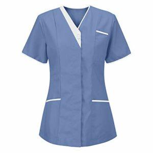 Tunique de soin pour femme – Uniforme de travail – T-shirt à enfiler avec poches – Manches courtes – Col en V – Vêtement professionnel infirmière – Uniformes d'infirmière – Multicolore – Taille Unique