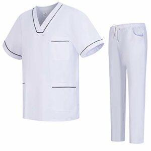 Workwear Tucano – Ensemble Uniformes Unisexe Blouse – Uniforme Médical avec Haut et Pantalon – Ref.6601-6602 – XXX-Large, Noir
