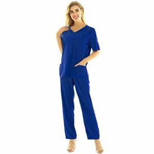YOOJIA Vêtements Médicals Ensemble Uniformes Unisexe Blouse Uniforme Médical Haut et Pantalon Uniforme d'Hôpital Vêtements de Travail Femme Homme Grande Taille Bleu C XL