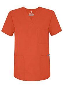 Adar Uniforms Uniformes Médicaux Unisexe Col V Tunique 3 Poches Haut d'infirmier Blouse d'Hôpital, Orange (Mandarin Orange), 3X-Poitrine:140-147cm,Hanche:137-145cm