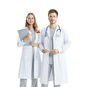AllRight Blanc de Laboratoire Vetement Femme Homme Manches Longues de Laboratoire Blouse de médecin Unisex Blouse de médecin pour Femme Hommes Blouse Blanche pour Femme Laboratoire Scientifique