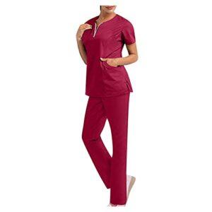 BIKETAFUWY Kasacks Ensemble de 2 pièces pour femme uniforme médicale avec tunique et pantalon Entretien professionnel Col en V Tunique à enfiler + pantalon à enfiler, a09, L