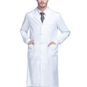Blouse blanche unisexe unisexe pour scientifique, médecin, infirmière, étudiant, cérémonie, M (63,5-72,6 kg), Taille L