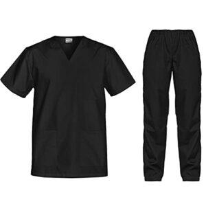 B-well Cesare Uniforme Médicale Unisexes Ensemble: Haut et Pantalons + Blouse Medicale Femme/Homme – Tenue Aide Soignante Professionnelle Noir M