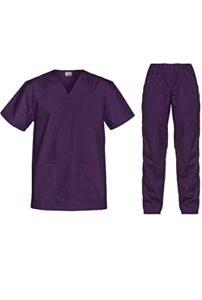 B-well Cesare Uniforme Médicale Unisexes Ensemble: Haut et Pantalons + Blouse Medicale Femme/Homme – Tenue Aide Soignante Professionnelle Violet XXL