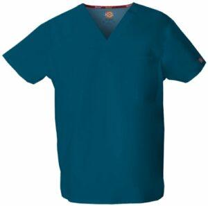 Dickies Signature blouse médicale à col en V pour homme – Bleu – Taille L