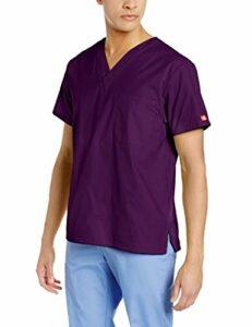 Dickies Signature blouse médicale à col en V pour homme – Violet – Taille 5XL