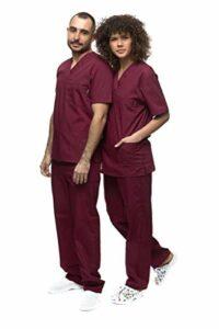Mazalat , Ensemble uniforme médical unisexe avec tunique et pantalon, bordeaux, L
