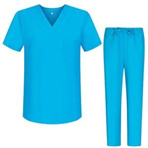 Misemiya – Ensemble Uniformes Unisexe Blouse – Uniforme Médical avec Haut et Pantalon – Ref.8178 – Large, Bleu Clair 68