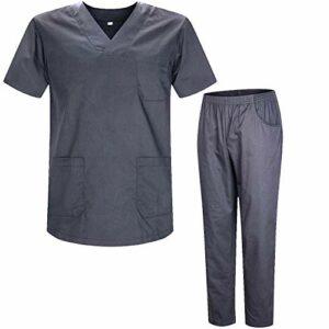 Misemiya – Ensemble Uniformes Unisexe Blouse – Uniforme Médical avec Haut et Pantalon – Ref.8178 – Medium, Gris 2