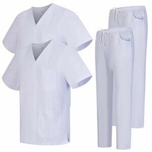 Misemiya – Pack * 2 Pcs – Ensemble Uniformes Unisexe Blouse – Uniforme Médical avec Haut et Pantalon – Ref.2-8178 – X-Small, Blanc 68