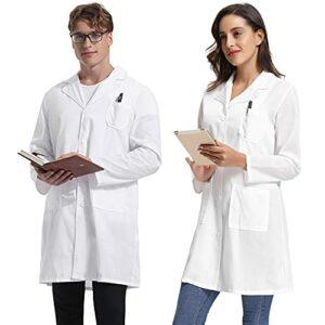 NC Manteau de Laboratoire Blanc pour Homme Blouse Médical Unisexe en 100% Coton Top Professionnel à Manches Longues Uniformes de Soins de Santé pour Étudiant, Infirmière avec Boutons, XL