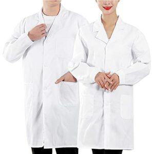 Blouse de Laboratoire, Blouse de_Médecin, 80% Coton 20% Polyester, Blouse Blanche pour Femme Homme, Adaptée aux étudiants et_Infirmière, Cosplay – S-4XL (Blanc, 3XL)