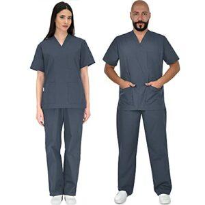 B-well Colombo Uniforme Médicale Unisexes Ensemble: Haut et Pantalons + Blouse Medicale Femme/Homme – Tenue Aide Soignante Professionnelle Vêtement médical – Gris – XX-Large