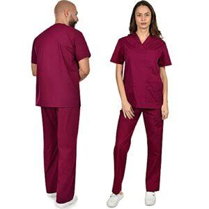 B-well Colombo Uniforme Médicale Unisexes Ensemble: Haut et Pantalons + Blouse Medicale Femme/Homme – Tenue Aide Soignante Professionnelle Vêtement médical – Rouge – X-Small