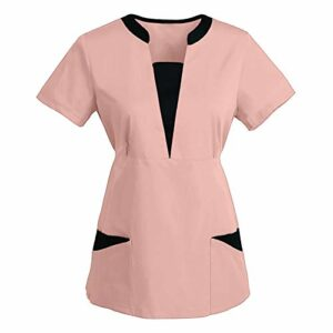 Duxinqa Tunique à col en V pour femme – Avec motif imprimé – Confortable et respirant – Haut pour infirmière – Pour le travail