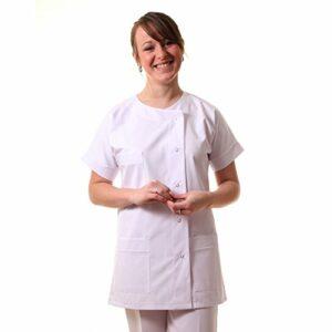 Hopitex Texsan-Blouse/Tunique infirmière col Ras de Cou-Blanc-T3