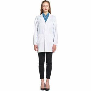Icertag Blouse de Laboratoire, Blouse de médecin, Blouse de médecin pour Femme, Blouse Blanche pour Femme, Adaptée aux étudiants, Laboratoire Scientifique, Infirmière, Cosplay, (X-Large)