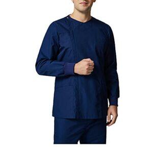 KKXY Ensemble de Gommage, Haut Design col Plat, Avec un Pantalon à Cordon, Tissu Extensible Dans les 4 Sens, Applicable Aux Infirmières, Masseurs, Salons de Beauté(Size:XL,Color:Bleu foncé)